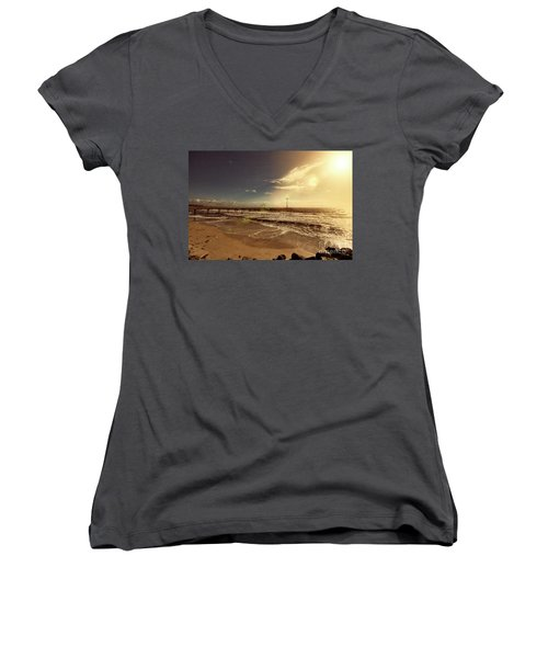 Brighton Beach Pier Women's V-Neck T-Shirt (Junior Cut) by Douglas Barnard