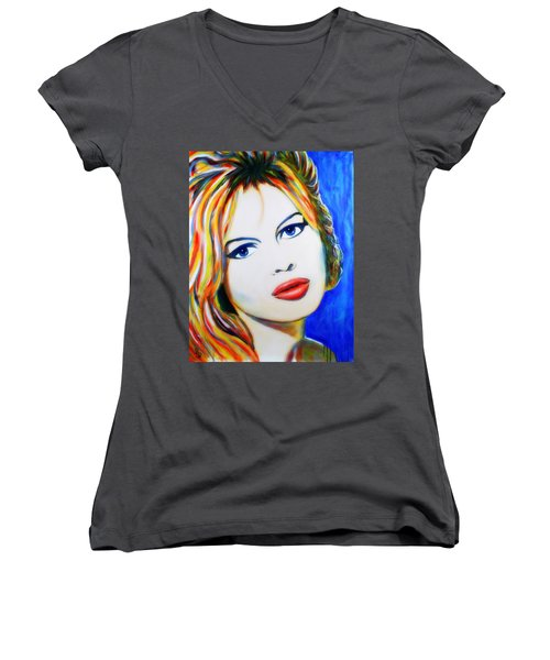 Brigitte Bardot Pop Art Portrait Women's V-Neck (Athletic Fit)