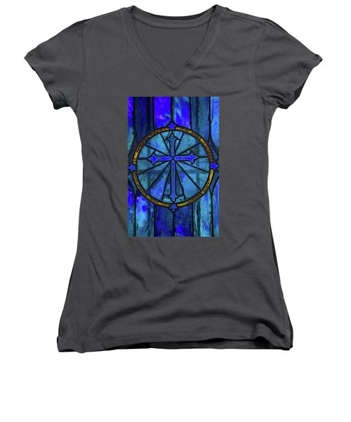 Brillant Blue Women's V-Neck T-Shirt (Junior Cut) by Rowana Ray