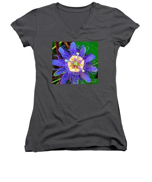 Brilliant Blue Flower Women's V-Neck (Athletic Fit)