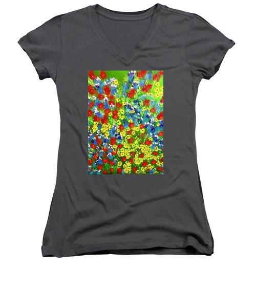 Brilliant Florals Women's V-Neck T-Shirt (Junior Cut) by George Riney