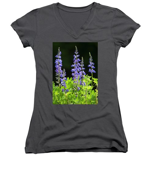 Women's V-Neck T-Shirt (Junior Cut) featuring the photograph Brilliant Lupines by Elvira Butler