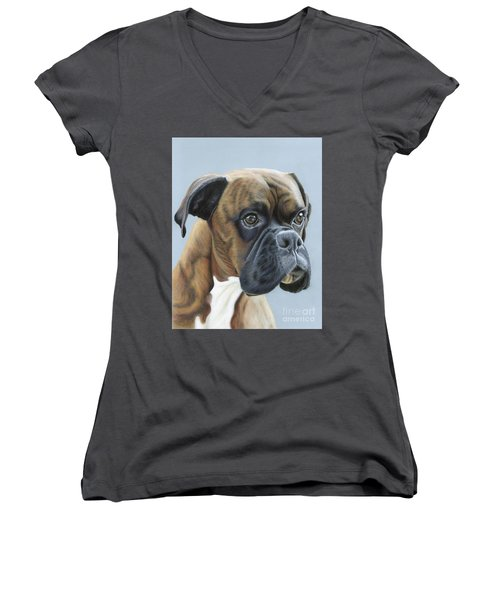 Women's V-Neck (Athletic Fit) featuring the painting Brindle Boxer Dog - Jack by Donna Mulley