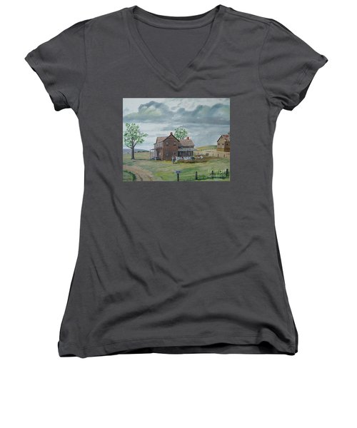 Bringing In The Clothes Women's V-Neck T-Shirt (Junior Cut) by Norm Starks