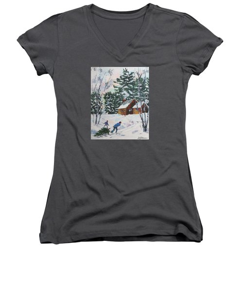 Bringing In The Tree Women's V-Neck T-Shirt (Junior Cut)