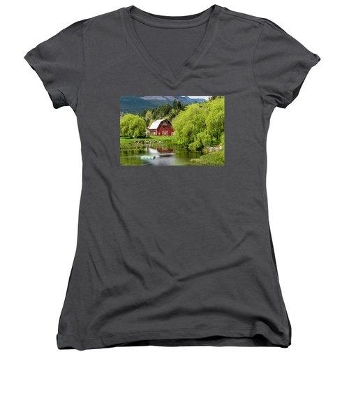 Brinnon Washington Barn Women's V-Neck T-Shirt (Junior Cut) by Teri Virbickis