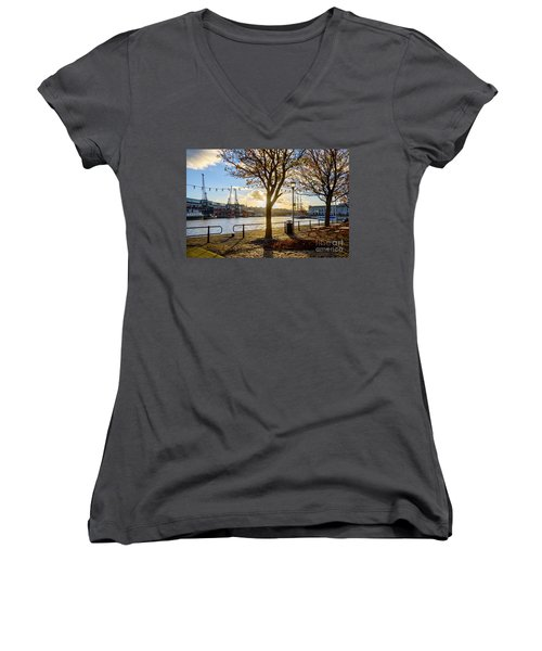 Bristol Harbour Women's V-Neck T-Shirt (Junior Cut) by Colin Rayner