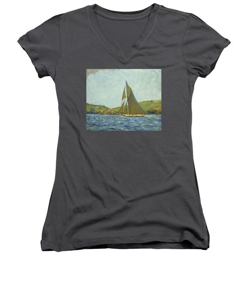 Women's V-Neck T-Shirt (Junior Cut) featuring the painting Britannia by Henry Scott Tuke