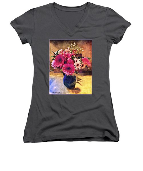 Brithday Wish Bouquet Women's V-Neck T-Shirt (Junior Cut) by MaryLee Parker