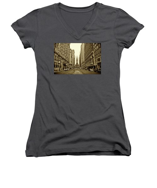 Broad Street Facing Philadelphia City Hall In Sepia Women's V-Neck