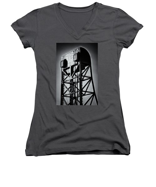 Broadway Bridge South Tower Detail 1 Monochrome Women's V-Neck (Athletic Fit)
