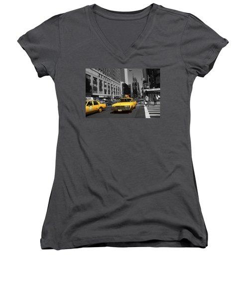 New York Yellow Taxi Cabs - Highlight Photo Women's V-Neck