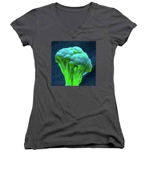 Broccoli 01 Women's V-Neck T-Shirt (Junior Cut) by Wally Hampton