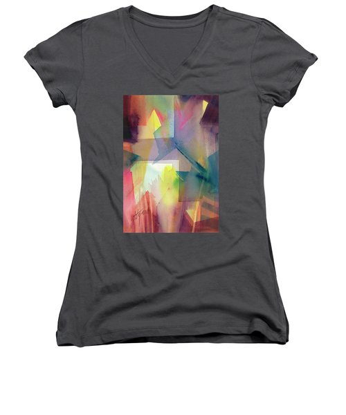 Women's V-Neck featuring the painting Broken Geometry by Carolyn Utigard Thomas