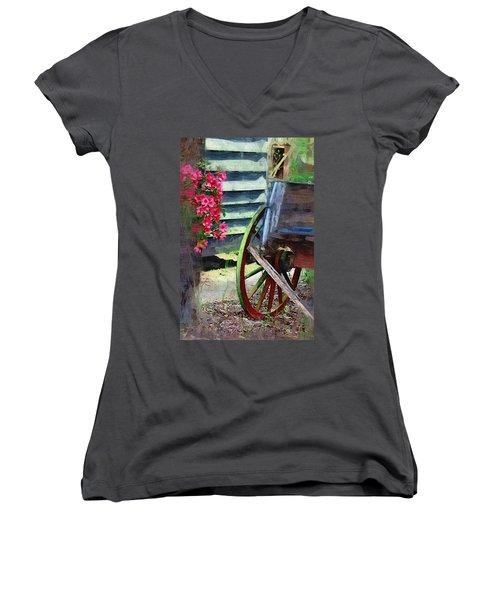 Women's V-Neck T-Shirt (Junior Cut) featuring the photograph Broken Wagon by Donna Bentley
