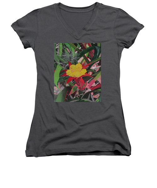 Women's V-Neck T-Shirt (Junior Cut) featuring the painting Bromelaid And Airplant by Hilda and Jose Garrancho