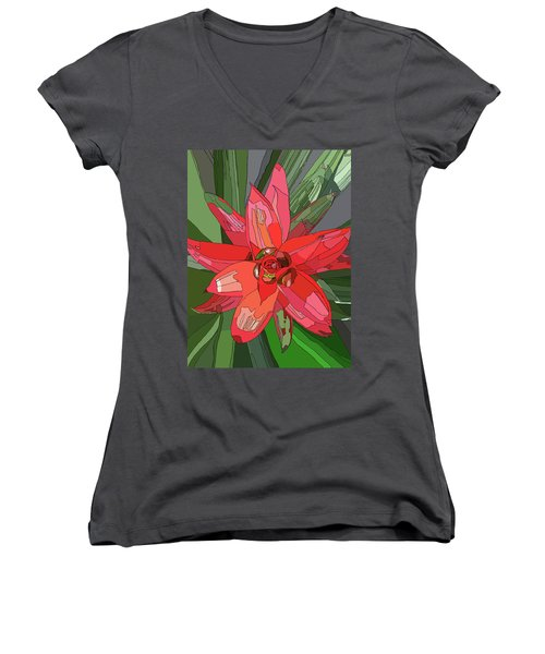 Bromiliad Women's V-Neck T-Shirt (Junior Cut) by Jamie Downs