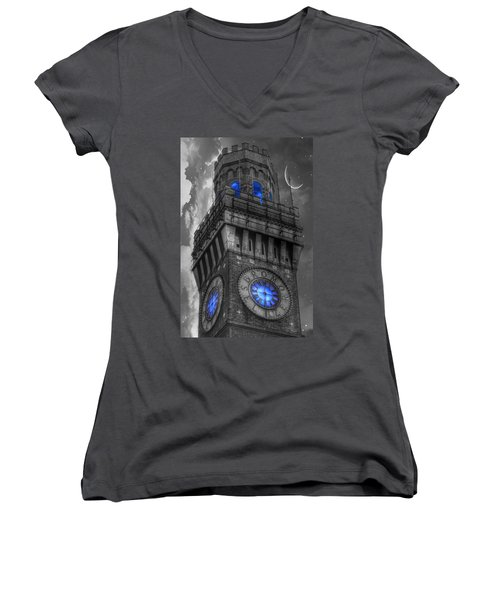 Bromo Seltzer Tower Baltimore - Blue  Women's V-Neck