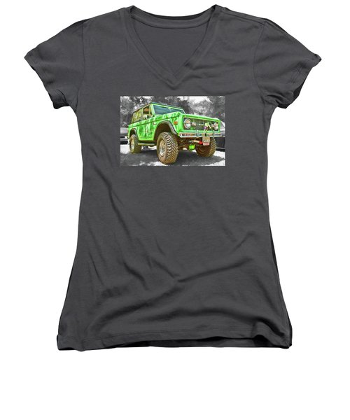 Women's V-Neck featuring the photograph Bronco 1 by Daniel Adams