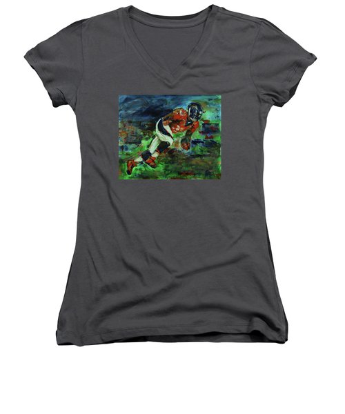 Broncos - Orange And Blue Horse Power Women's V-Neck T-Shirt (Junior Cut) by Walter Fahmy