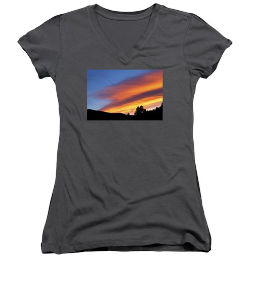 Broncos Sunset Women's V-Neck T-Shirt (Junior Cut) by Kristin Davidson