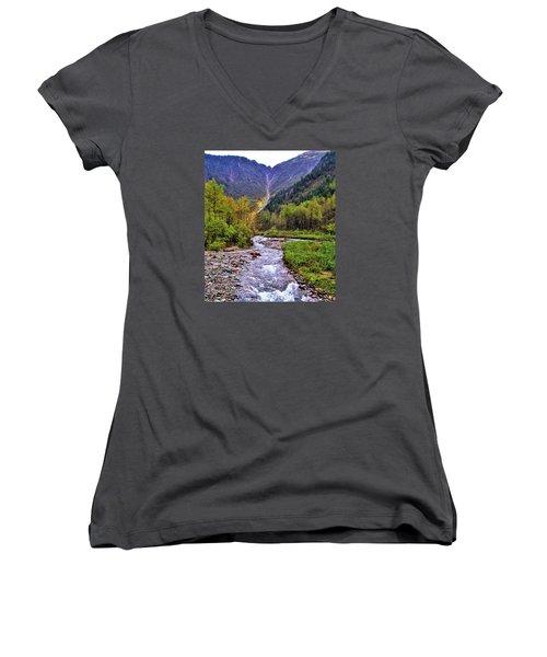 Brook Women's V-Neck T-Shirt (Junior Cut) by Martin Cline