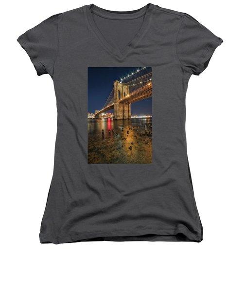 Brooklyn Bridge At Night Women's V-Neck (Athletic Fit)