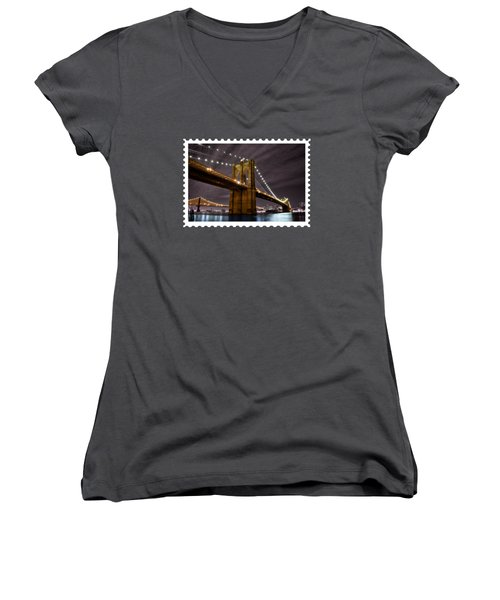 Brooklyn Bridge At Night New York City Women's V-Neck T-Shirt (Junior Cut) by Elaine Plesser