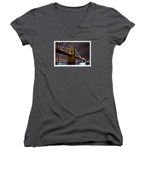 Brooklyn Bridge At Night New York City Women's V-Neck T-Shirt