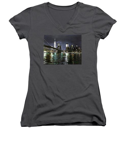 Brooklyn Bridge, East River At Night Women's V-Neck T-Shirt