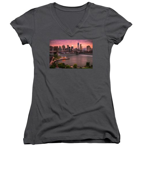 Women's V-Neck T-Shirt (Junior Cut) featuring the photograph Brooklyn Bridge Over New York Skyline At Sunset by Ranjay Mitra