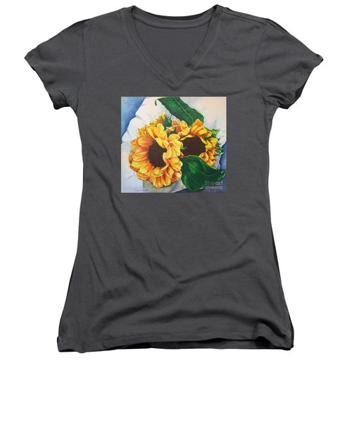Women's V-Neck T-Shirt (Junior Cut) featuring the painting Brooklyn Sun by Angela Armano
