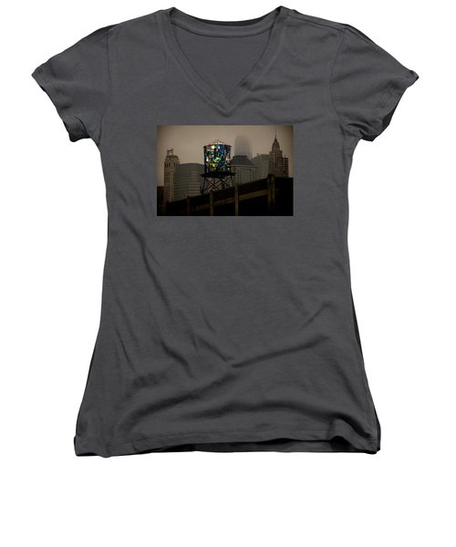 Women's V-Neck T-Shirt (Junior Cut) featuring the photograph Brooklyn Water Tower by Chris Lord