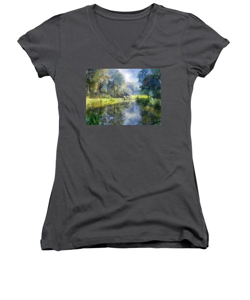 Women's V-Neck T-Shirt (Junior Cut) featuring the digital art Brookside by Francesa Miller