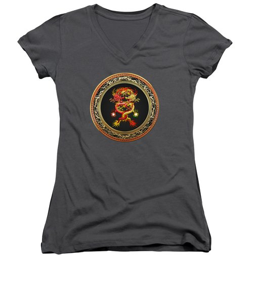 Brotherhood Of The Snake - The Red And The Yellow Dragons On Red Velvet Women's V-Neck T-Shirt (Junior Cut) by Serge Averbukh