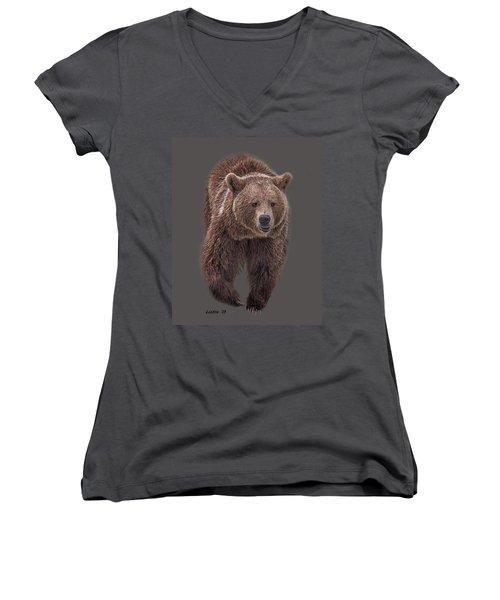 Brown Bear 8   Women's V-Neck