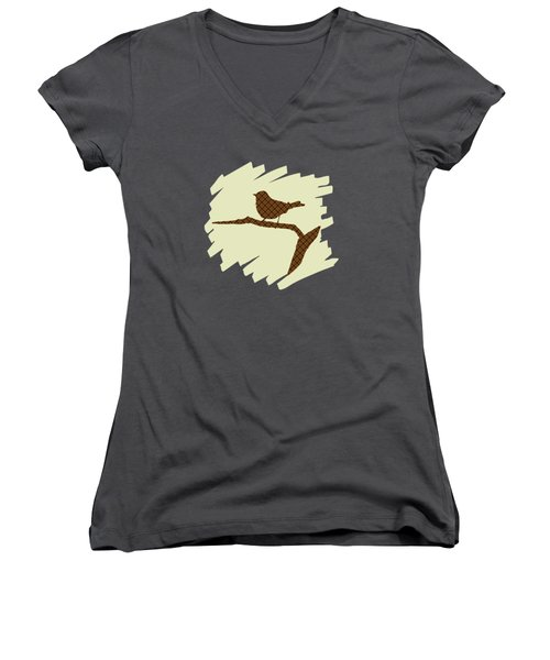 Brown Bird Silhouette Modern Bird Art Women's V-Neck T-Shirt