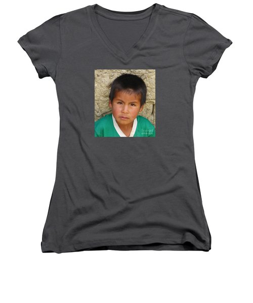 Brown Eyed Bolivian Boy Women's V-Neck (Athletic Fit)