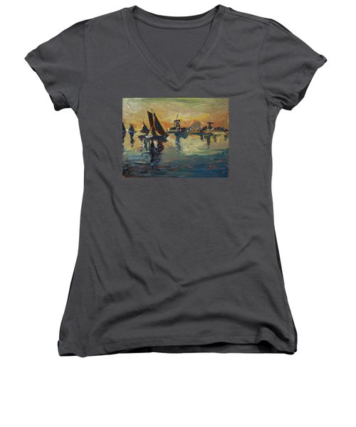 Brown Fleet On The Zaan Women's V-Neck T-Shirt (Junior Cut) by Nop Briex