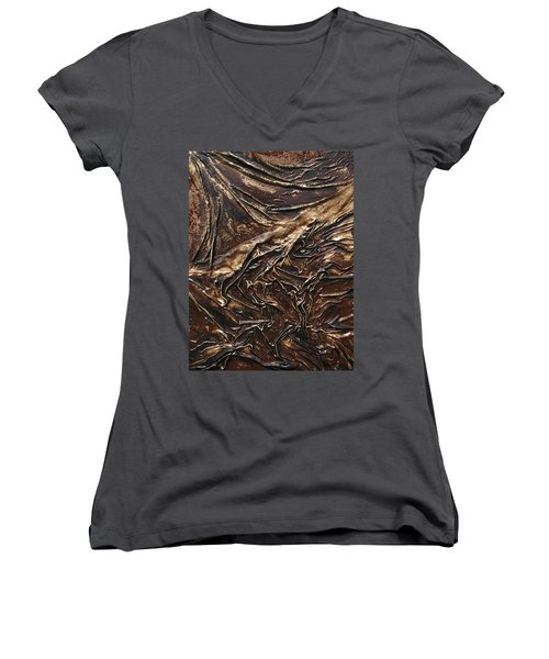 Brown Lace Women's V-Neck (Athletic Fit)