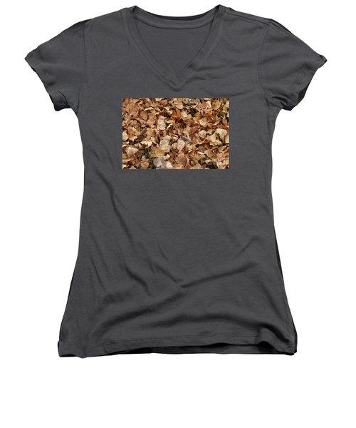 Brown Leaf Carpet Women's V-Neck