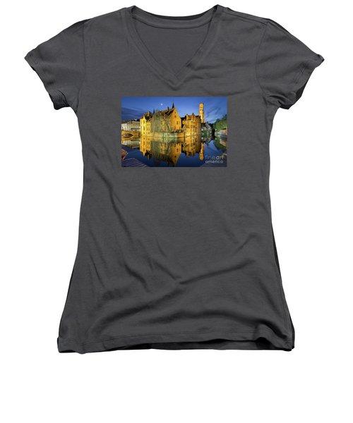 Brugge Twilight Women's V-Neck T-Shirt (Junior Cut) by JR Photography
