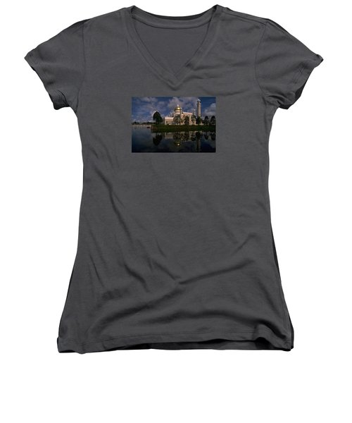 Brunei Mosque Women's V-Neck T-Shirt (Junior Cut) by Travel Pics