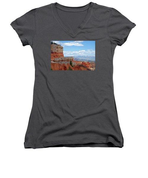 Bryce Canyon Women's V-Neck T-Shirt (Junior Cut) by Nancy Landry