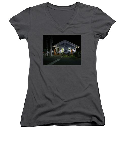 Bryson City Train Station Women's V-Neck T-Shirt (Junior Cut) by Lamarre Labadie