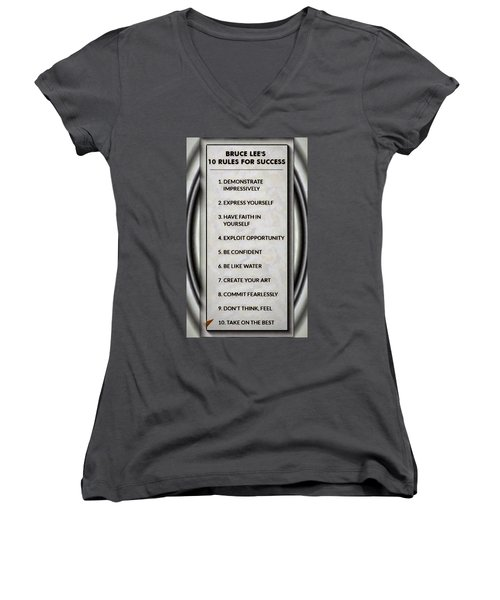 Buce Lee 10 Rules Of Success Women's V-Neck