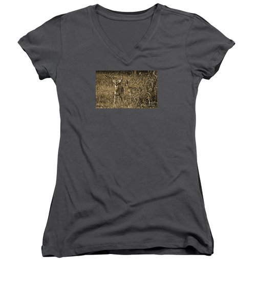 Buck And Doe In Sepia Women's V-Neck