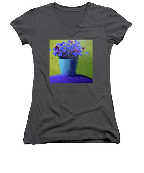 Bucket Of Blue Women's V-Neck (Athletic Fit)