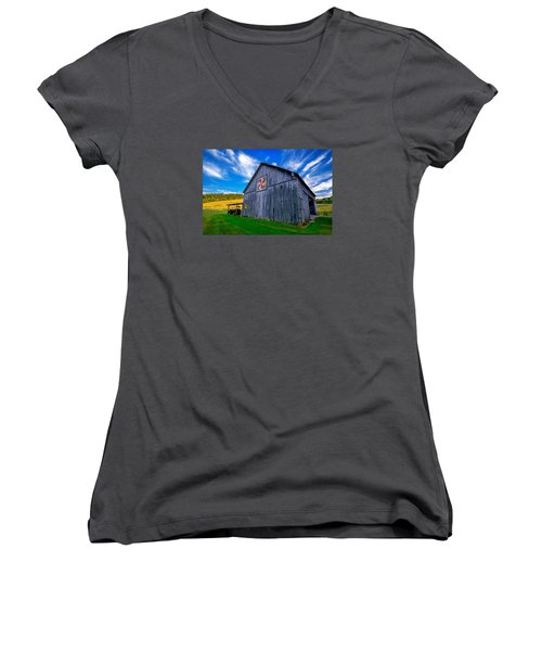 Women's V-Neck T-Shirt (Junior Cut) featuring the photograph Buckeye Barn 2 by Brian Stevens
