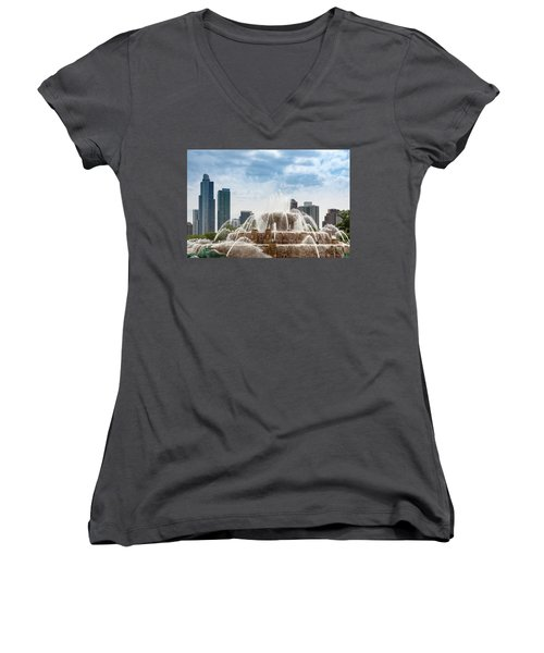 Buckingham Fountain In Chicago Women's V-Neck (Athletic Fit)